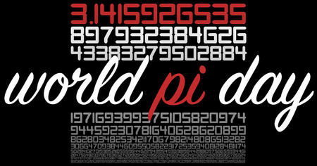 World PI day celebration sign on black. Many numbers in white and red.