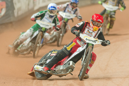 SOLNA, SWEDEN - SEPT 23, 2017: Maciej Janowski (POL) at the Stockholm FIM Speedway Grand Prix at Friends Arena in Stockholm.