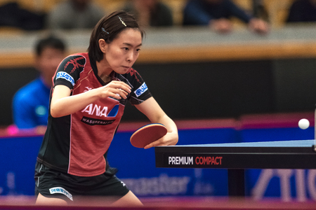 STOCKHOLM, SWEDEN - NOV 17, 2017: Kasumi Ishikawa (Japan) against Gu Yuting (China) at the table tennis tournament SOC at the arena Eriksdalshallen in Stockholm.