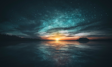 Photo pour Stars reflected in the water of the archipelago during sunset. Cool green and orange looks like the creation of the world. - image libre de droit