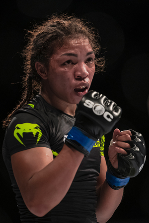 STOCKHOLM, SWEDEN, MAY 11, 2019: Superior challenge 19 between Pannie Kianzad (SWE) and Inoy Razafiarison (FRA). Kianzad won by Decision.