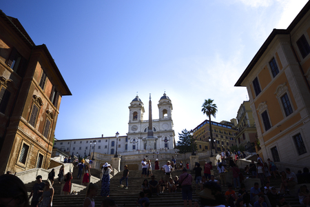 Rome Italy. Church of the trinity of the mountains. Stairway of the Trinit? dei Monti in Piazza di Spagna