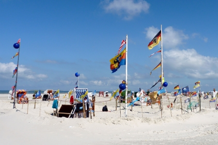 View of sunny beach in Amrum, Northern Germany