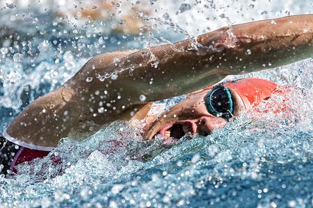 Photo pour Swimmer in a competition - image libre de droit
