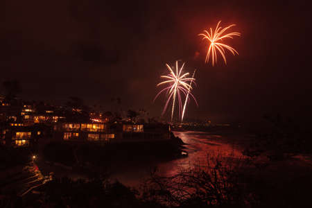 Laguna Beach, California, July 4, 2016: Laguna Beach fireworks / city lights on the forth of July celebration