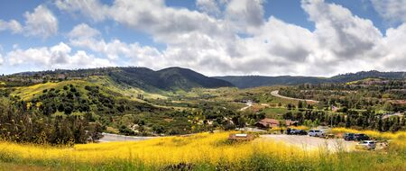 Aliso Viejo Wilderness Park view with yellow wild flowers and green rolling hills from the top hill in Aliso Viejo, California, United States