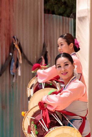 San Diego, CA, USA - July 1, 2017: Korean drum dance performed at the San Diego Zoo Safari park. Editorial only.