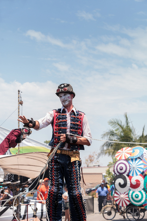 Costa Mesa, CA, USA - July 14, 2017: Performer Benjamin Gadbois with the Dragon Knights steampunk stilt walkers at the Orange County Fair in Costa Mesa, CA on July 16, 2016. Editorial use only.