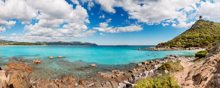 Panoramic desert seascape with crystal clear sea - very high resolution