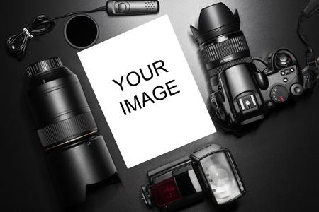 Camera equipment around a printed photo