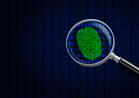 Photo for Magnifying Glass searching code for on-line activity. - Royalty Free Image