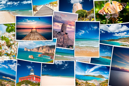 Photo for Collage of seaside travel photos - South Sardinia holiday photo scattered - Royalty Free Image