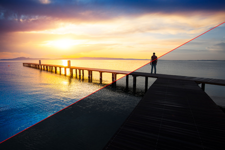 Photo pour Before and after example of photo editing process, color correction,brightness and saturation of man silhouette standing on wooden pier at sunset - image libre de droit