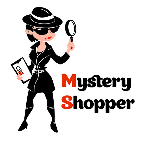 Black and white mystery shopper woman in spy coat, boots, sunglasses and hat with magnifier and checklist. Full-length vector.