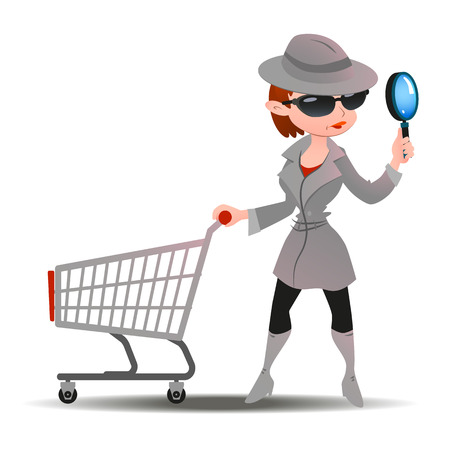Mystery shopper woman in spy coat, boots, sunglasses and hat with magnifier and shopping cart. Full-length vector.