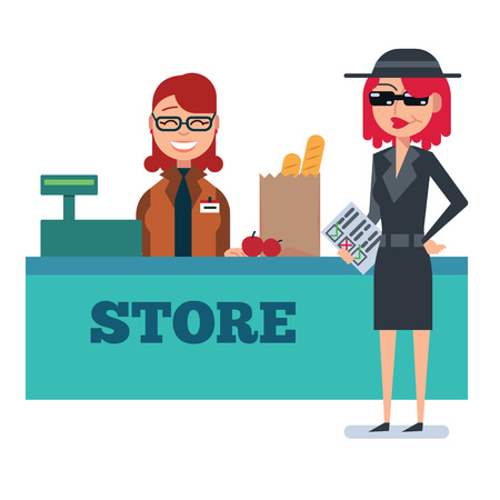 Mystery shopper woman in spy coat, sunglasses, hat and checklist checks grocery store. Full-length vector.