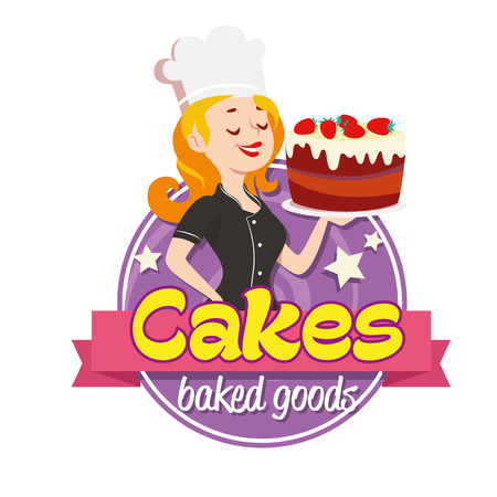 Vektor für Vintage cartoon logo. Smiling woman dressed in a cook cap and with a strawberry cake with frosting on white background - Lizenzfreies Bild