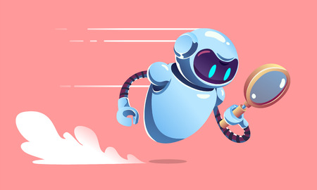 Illustration pour Search metal bot with magnifier is is fast flying. SEO robot vector illustration. - image libre de droit