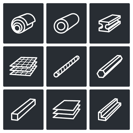 Metal industry icon collection on a black background