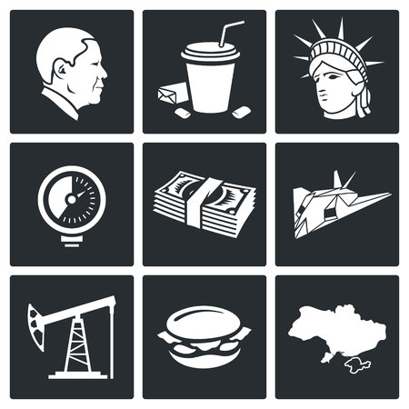 America Icon flat collection isolated on a black background