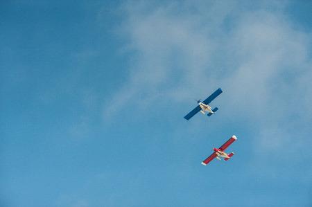 plane flight against the blue sky