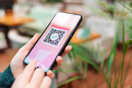 Photo pour A female's hand holds a cellphone with a qr code for a discount in the internet store. Side view. The concept of online shopping. - image libre de droit