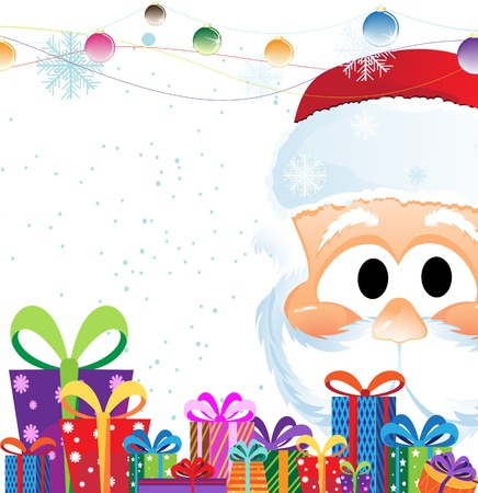 Santa Claus Head and heap of Christmas gifts on a white background