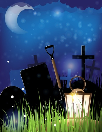 Glowing lantern and a shovel in the night cemetery  Scary Halloween background