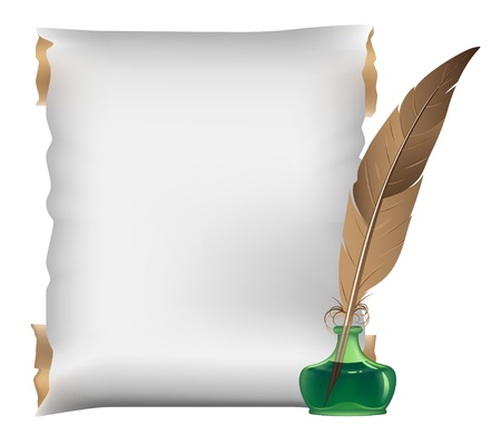 Ancient scroll, feather and inkwell on a white background