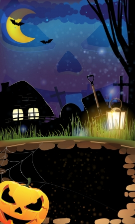 Jack o Lantern and lonely hut  on a cemetery  Abstract  Halloween  background