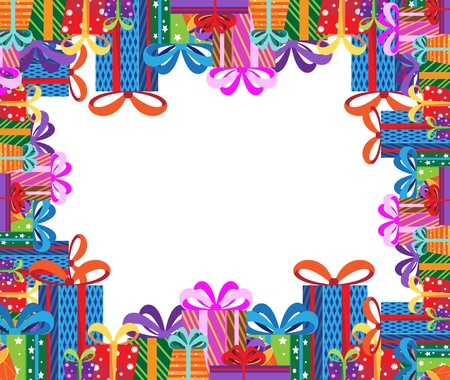 Pile of gifts in colorful packaging. Festive frame