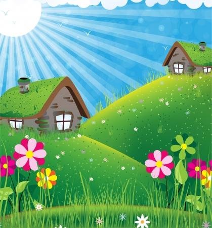 Ilustración de Two houses with sod roofs on a green meadow. Summer sunny landscape - Imagen libre de derechos
