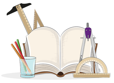 Open book and drawing tools on a white background