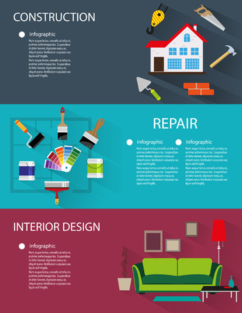 Architecture, construction, interior design conceptual backgrounds with icons and infographic elements