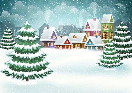 Illustration pour Winter village landscape with pine forest - image libre de droit