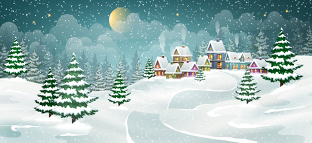 Illustration pour Winter village landscape with pine forest. Small fairy-tale houses covered with snow. - image libre de droit