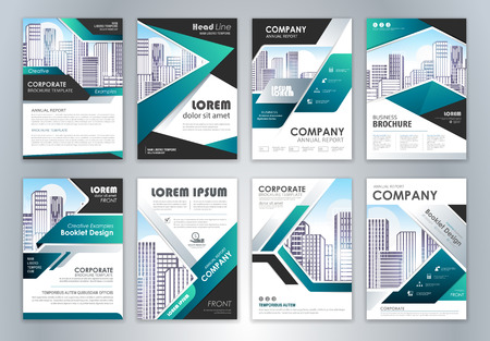 Illustration pour Set of annual report brochure flyer design template. Leaflet cover presentation abstract background for business, magazines, posters, booklets, banners. Easily editable vector format. - image libre de droit