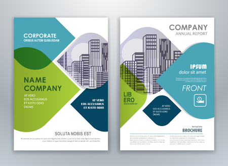Illustration pour Blue and green annual report brochure flyer design template. Leaflet cover presentation abstract background for business, magazines, posters, booklets, banners. - image libre de droit