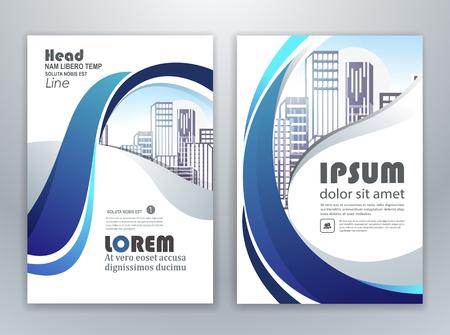 Illustration pour Blue annual report leaflet brochure flyer template design, book and magazine cover layout design, abstract business presentation template design. - image libre de droit