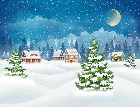 Illustration pour Evening village winter landscape with snow covered houses and christmas tree. Christmas holidays vector illustration - image libre de droit