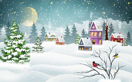 Illustration pour Vintage Christmas village houses covered with snow in a pine forest and bullfinches on a branch. Winter Christmas landscape - image libre de droit