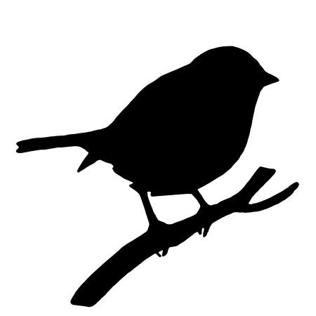 Ilustración de High quality original Silhouette bird on ash branch - Imagen libre de derechos