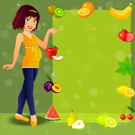 Very high quality original trendy vector illustration of smiling cute pregnant woman and fruit diet for her