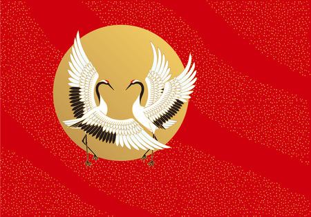 Ilustración de Cranes and sun. Japanese style. - Imagen libre de derechos