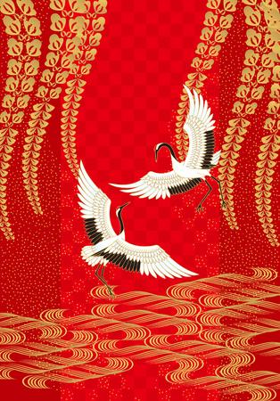Ilustración de Cranes and wisteria. Japanese style. - Imagen libre de derechos