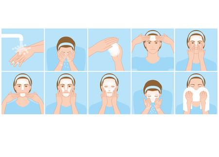 Illustration for Men wash the face - Royalty Free Image