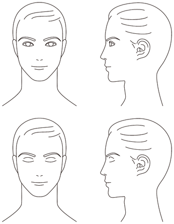 Illustration for man face. Front and profile. - Royalty Free Image