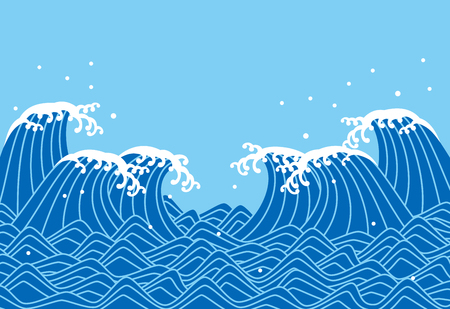 Illustration pour A blue waves, Japanese style vector illustration. - image libre de droit