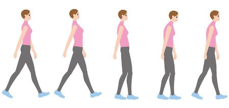 Illustration pour A woman walking in a good posture and a woman walking in a bad posture - image libre de droit