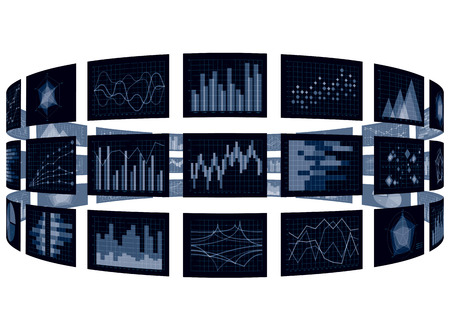 Cylinder chart and chart image isolated on plain background.
